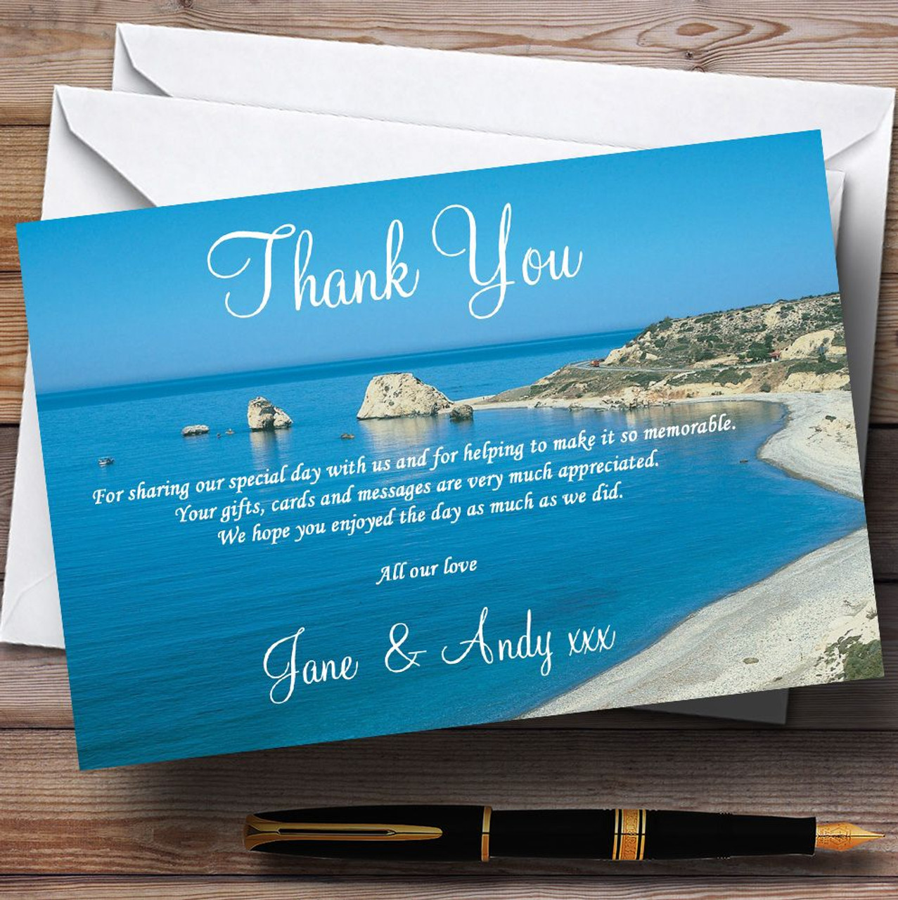 Cyprus Beach Jetting Off Abroad Personalised Wedding Thank You Cards