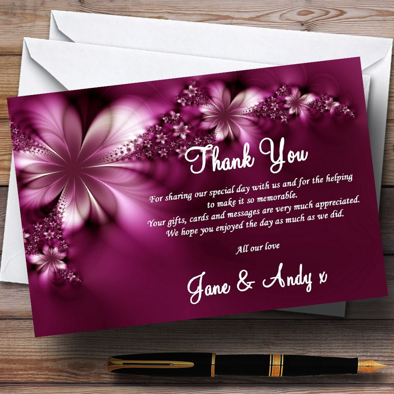 Beautiful Thank You Cards beautiful lilac / purple rose personalised wedding thank you cards