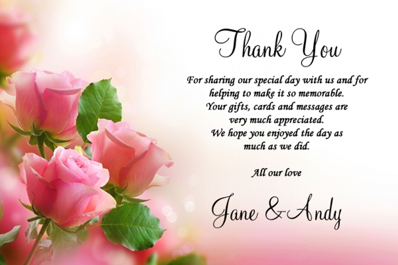 Beautiful Soft Pink Pastel Roses Personalised Wedding Thank You – Personalised Thank You Cards Wedding