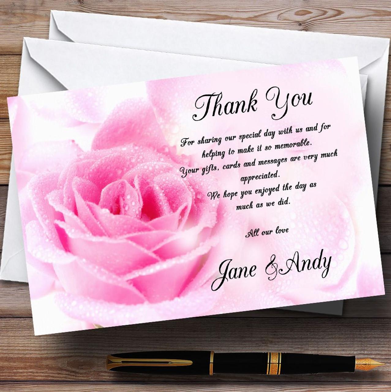 Pastel Pale Wet Pink Rose Personalised Wedding Thank You Cards – Personalised Thank You Cards Wedding