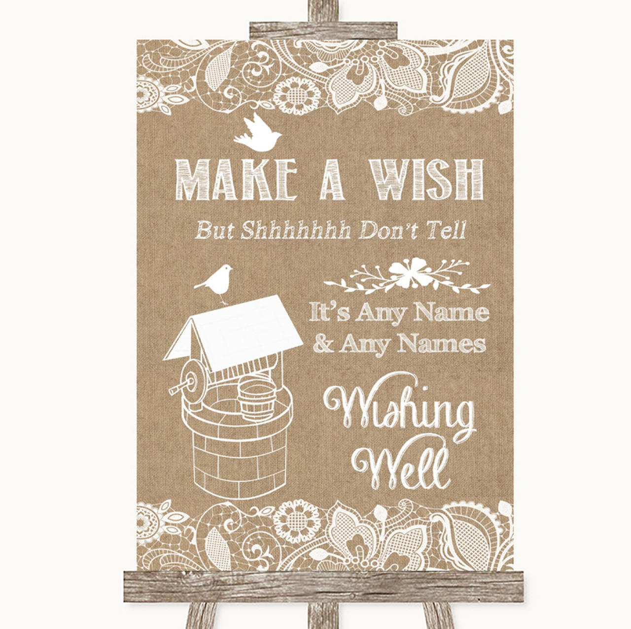 Burlap Lace Wishing Well Message Personalised Wedding Sign