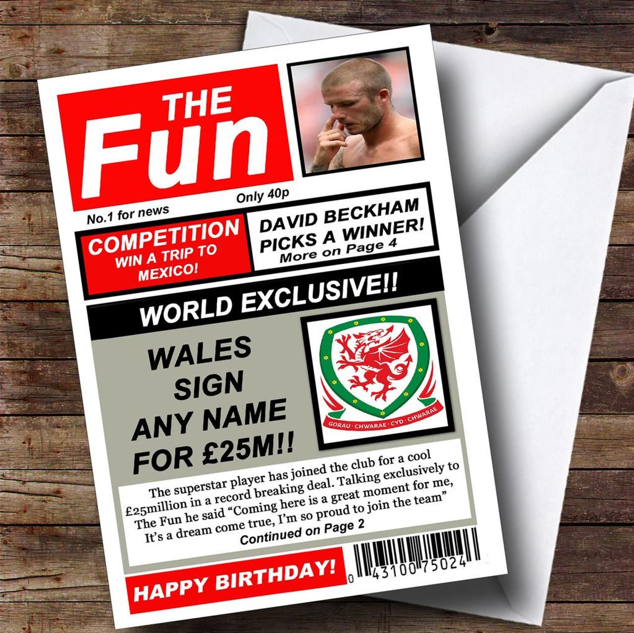 Wales Football Fan Funny Newspaper Personalised Birthday Card – Football Team Birthday Cards