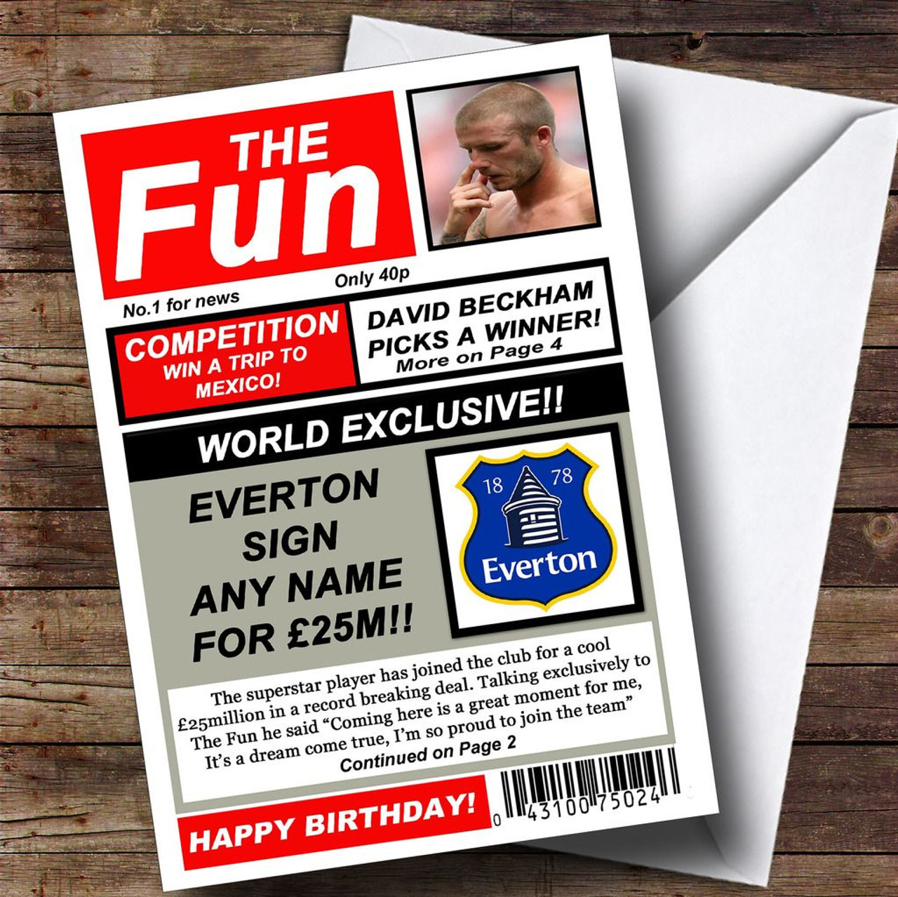 Everton Football Fan Funny Newspaper Personalised Birthday Card – Everton Birthday Cards