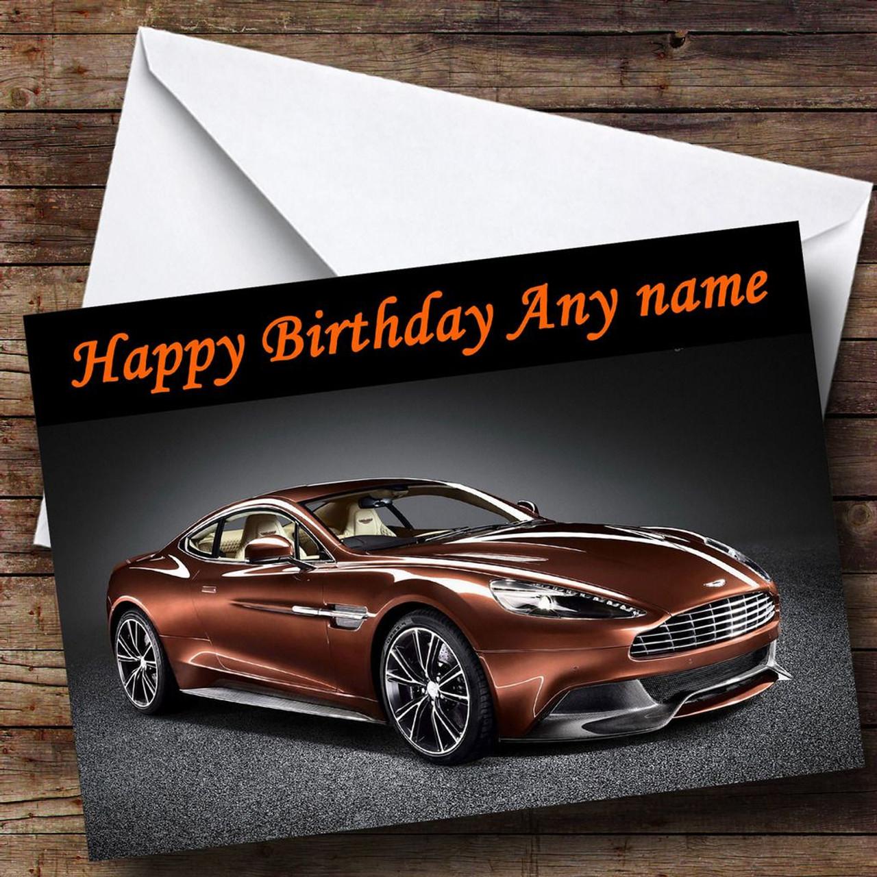 Bronze Aston Martin Vanquish Personalised Birthday Card