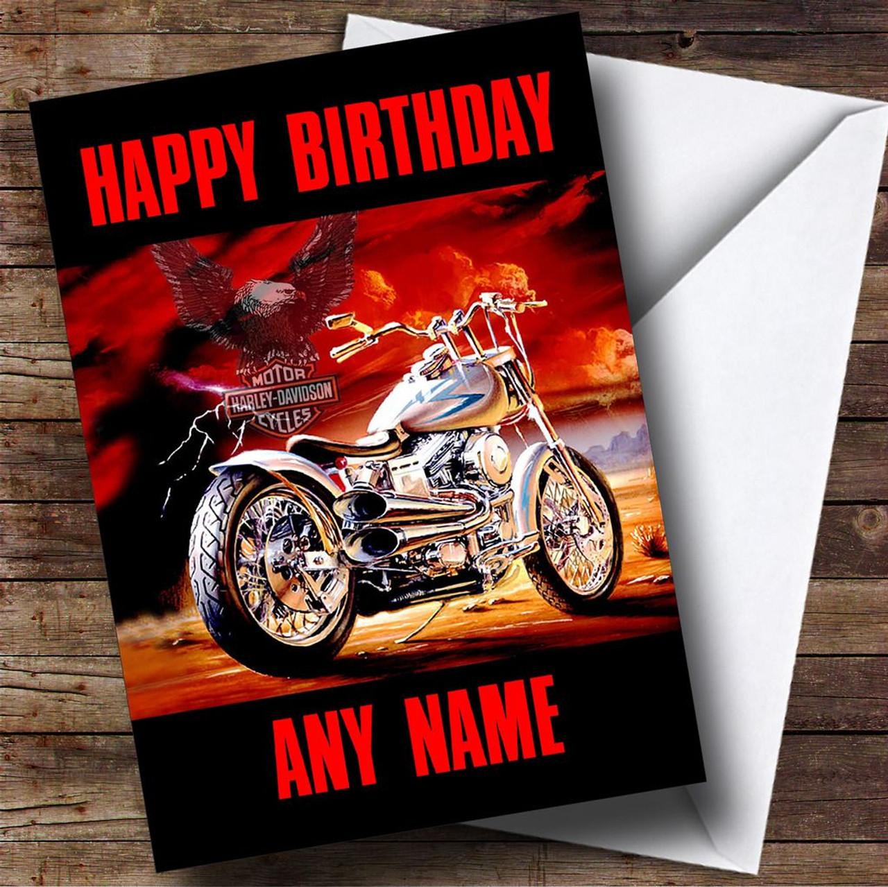 Harley Davidson Motorcycle Personalised Birthday Card The Card Zoo – Harley Davidson Birthday Cards