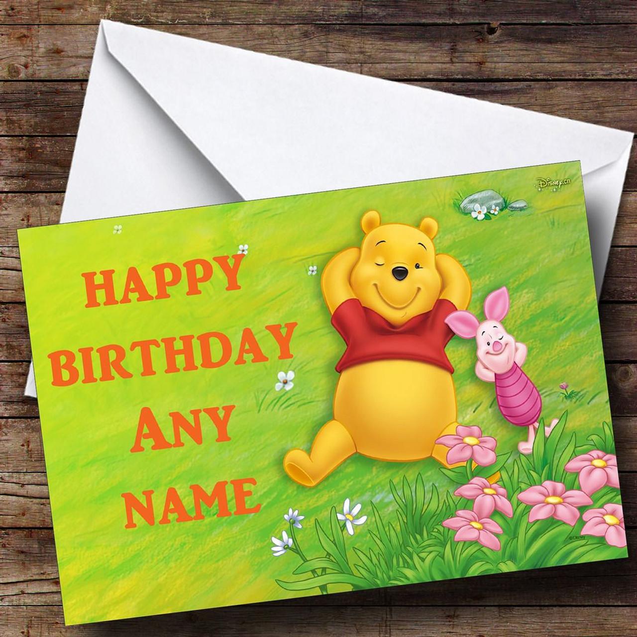Winnie The Pooh Relaxing Personalised Birthday Card The Card Zoo – Pooh Birthday Cards