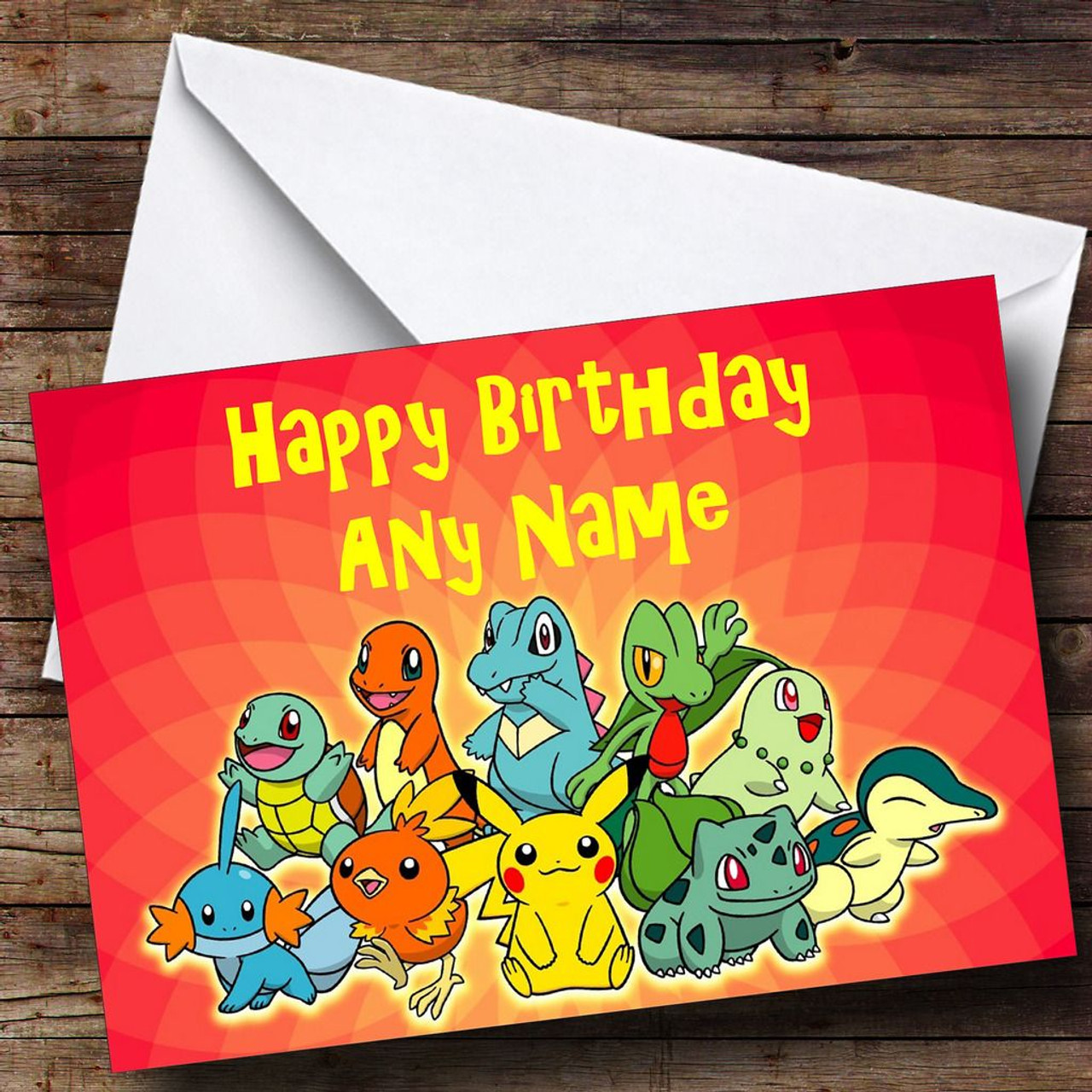 Red Pokemon Personalised Birthday Card The Card Zoo – Pokemon Birthday Card