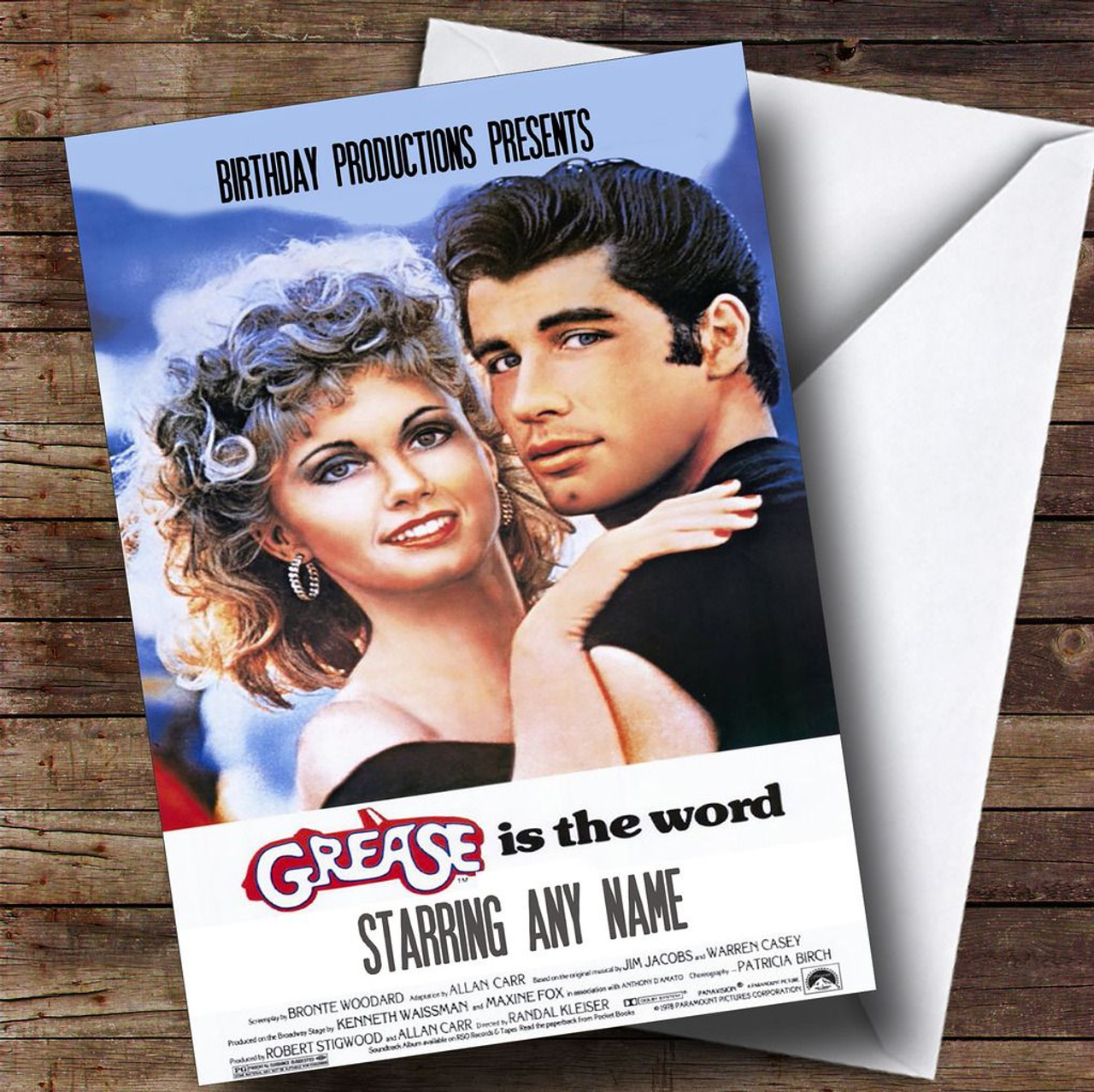 spoof grease movie poster funny personalised birthday card