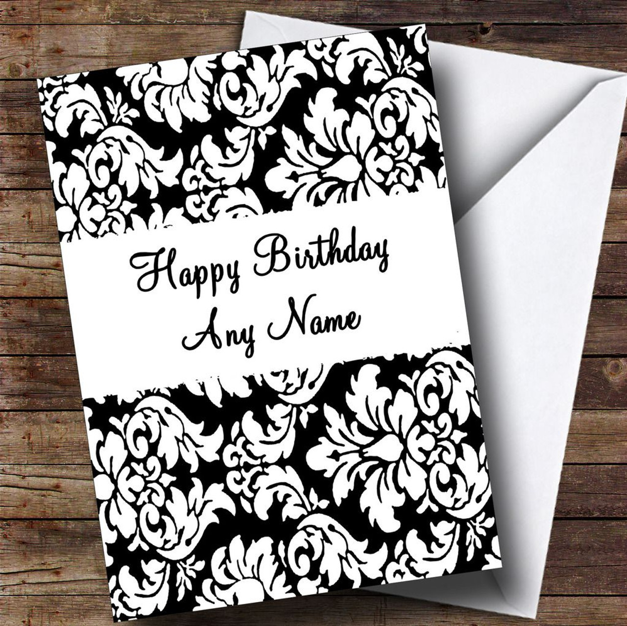 Floral Black Red Damask Personalised Birthday Card The Card Zoo