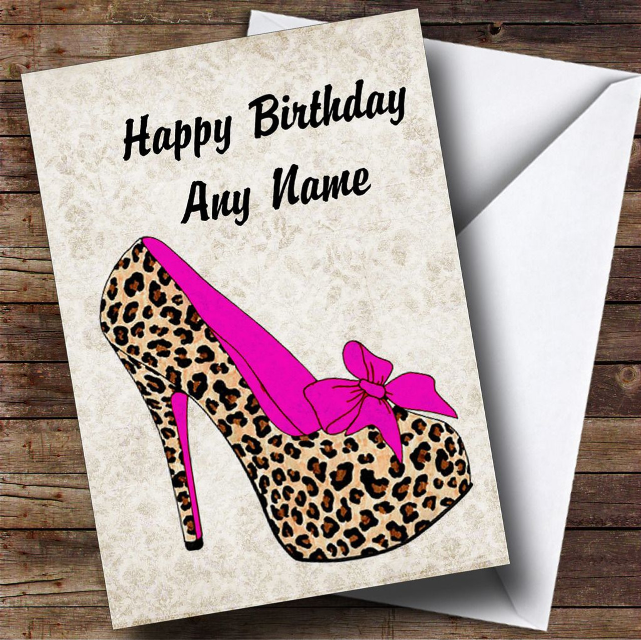 Leopard Print Stiletto Pink Personalised Birthday Card The Card Zoo – Leopard Print Birthday Cards