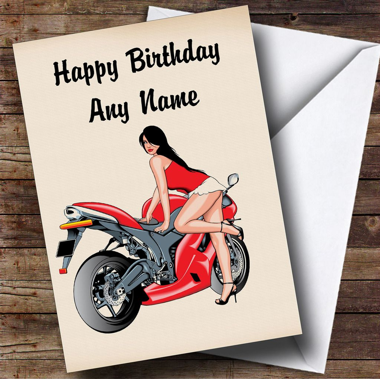 Motorbike And Sexy Lady Red Personalised Birthday Card The Card Zoo – Motorbike Birthday Cards