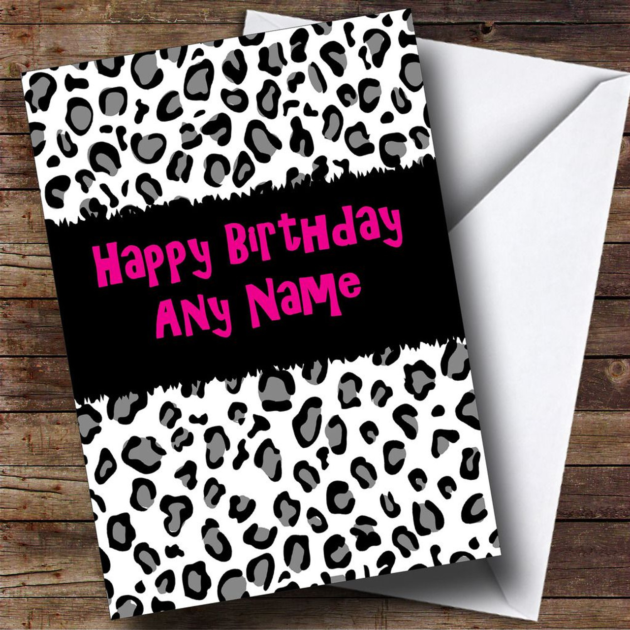 Black White Leopard Print Personalised Birthday Card The Card Zoo – Leopard Print Birthday Cards