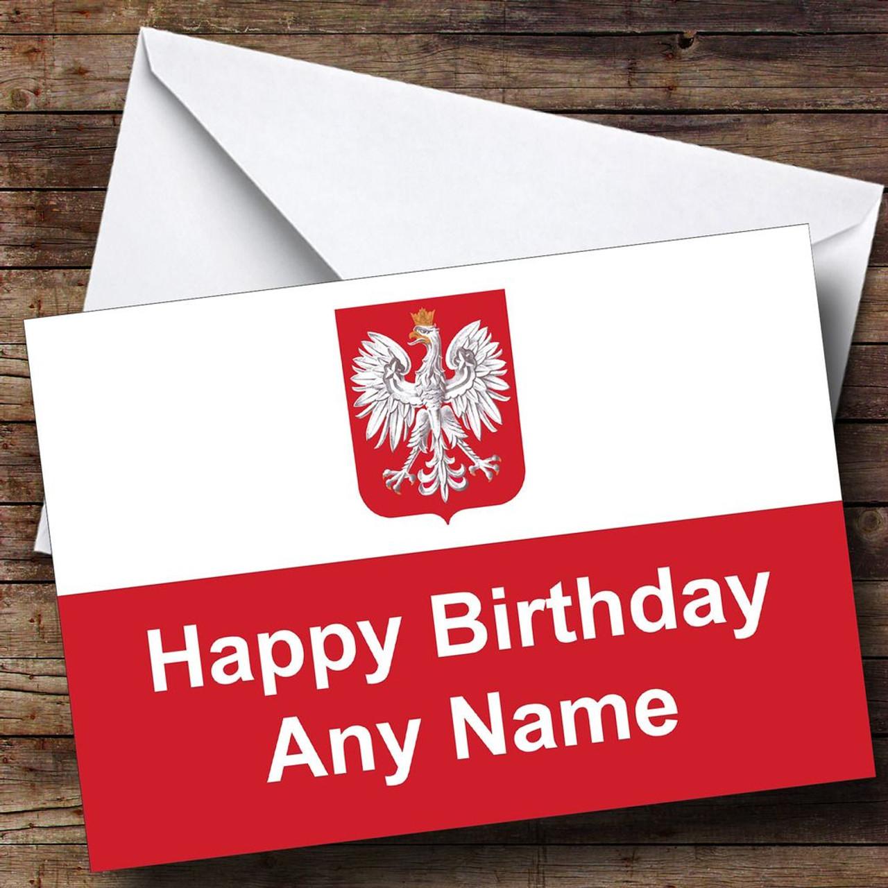 Polish Flag Poland Personalised Birthday Card The Card Zoo – Polish Birthday Greeting