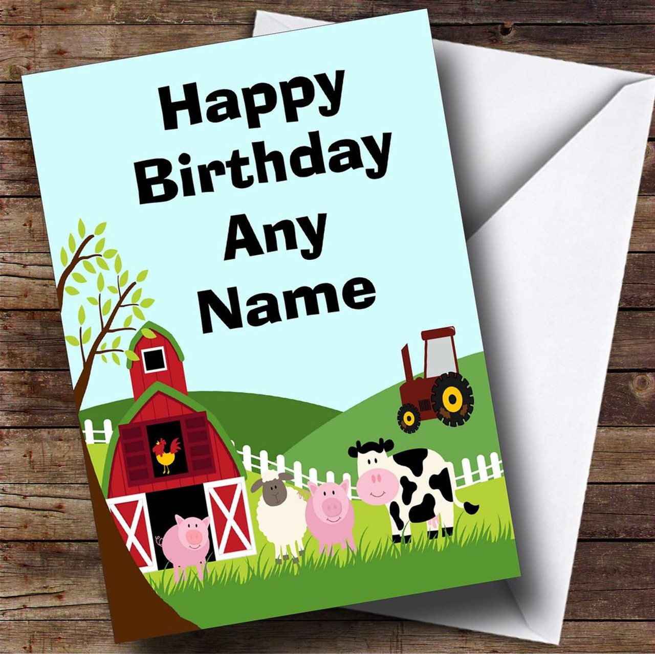 Farm Animals And Tractor Personalised Birthday Card The Card Zoo – Tractor Birthday Cards