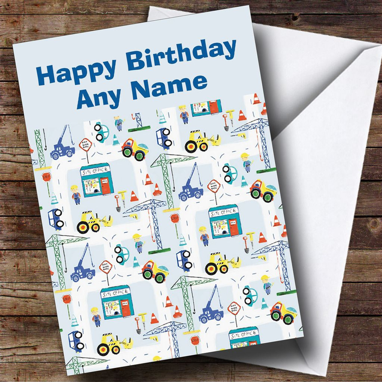 Childrens Construction Site Digger Personalised Birthday Card – Birthday Card Site