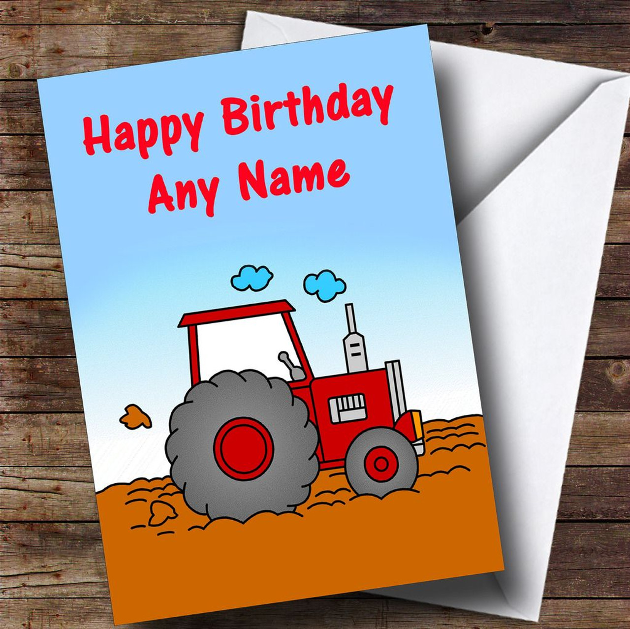 Big Red Tractor Personalised Childrens Birthday Card The Card Zoo – Tractor Birthday Cards