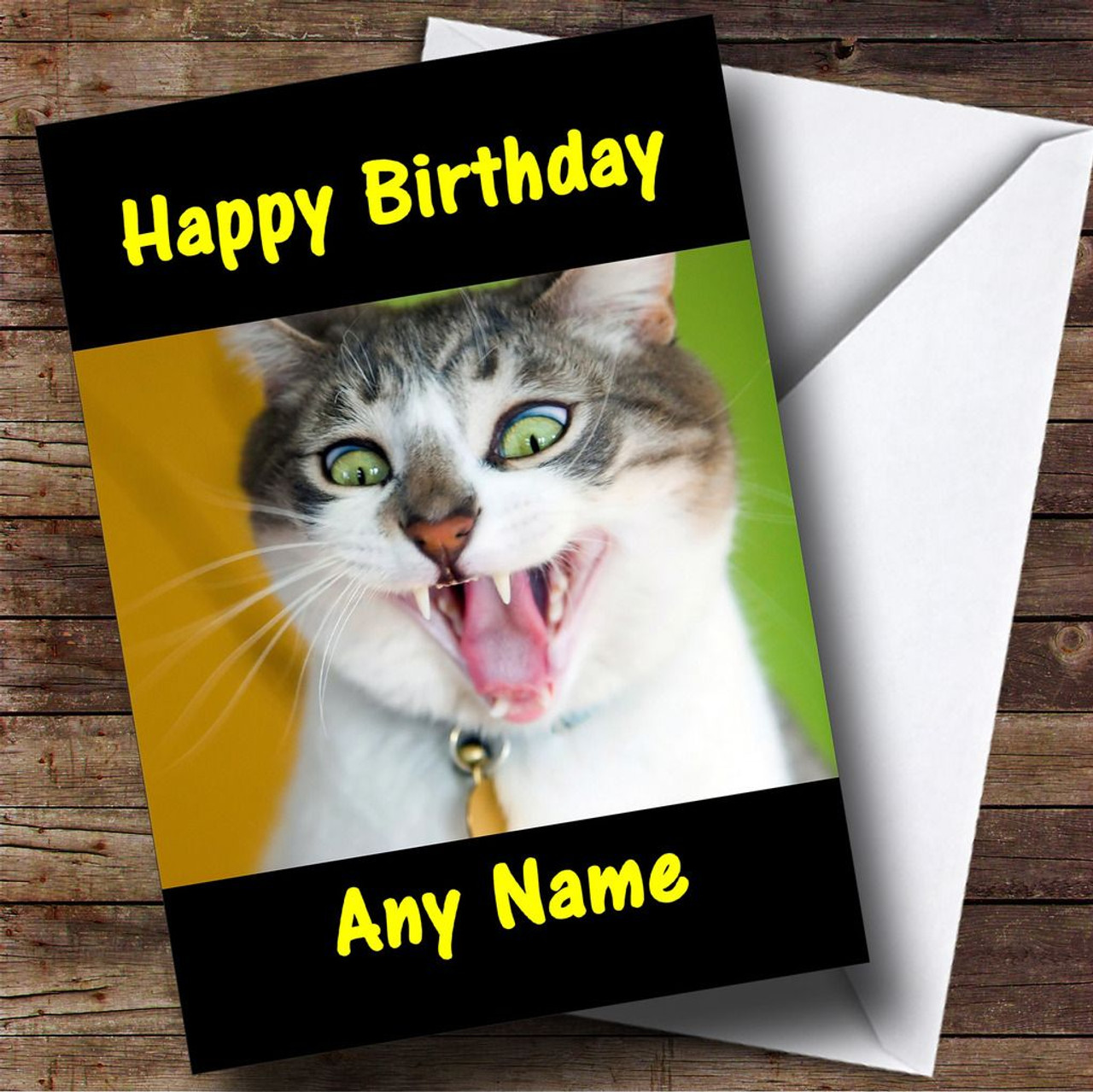 Crazy Funny Cat Personalised Birthday Card The Card Zoo – Birthday Card from Cat