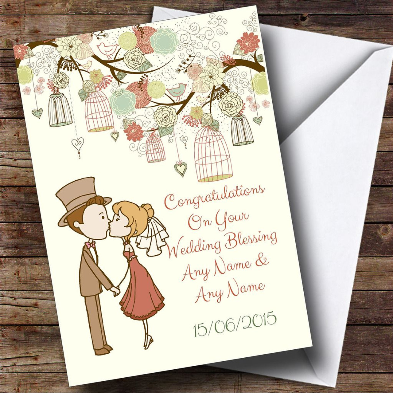 Vintage Birdcage Cute Couple Personalised Wedding Blessing Card