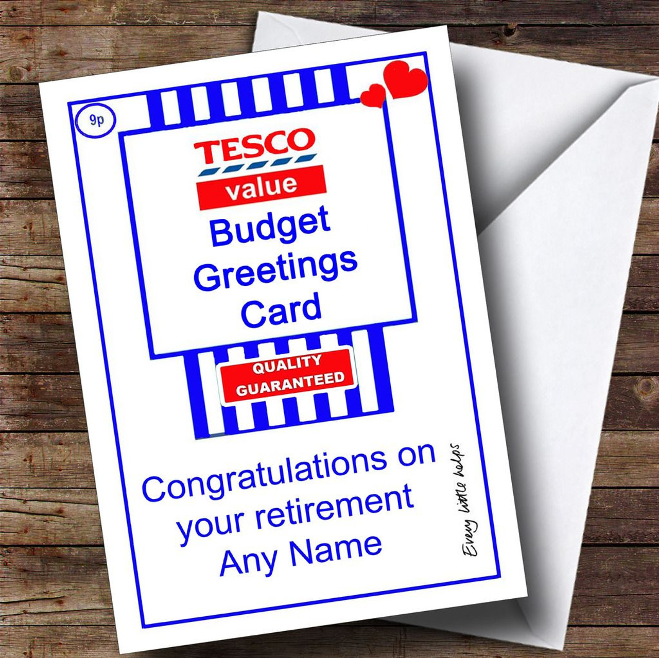 Funny Joke Tesco Value Spoof Personalised Retirement Card - The ...