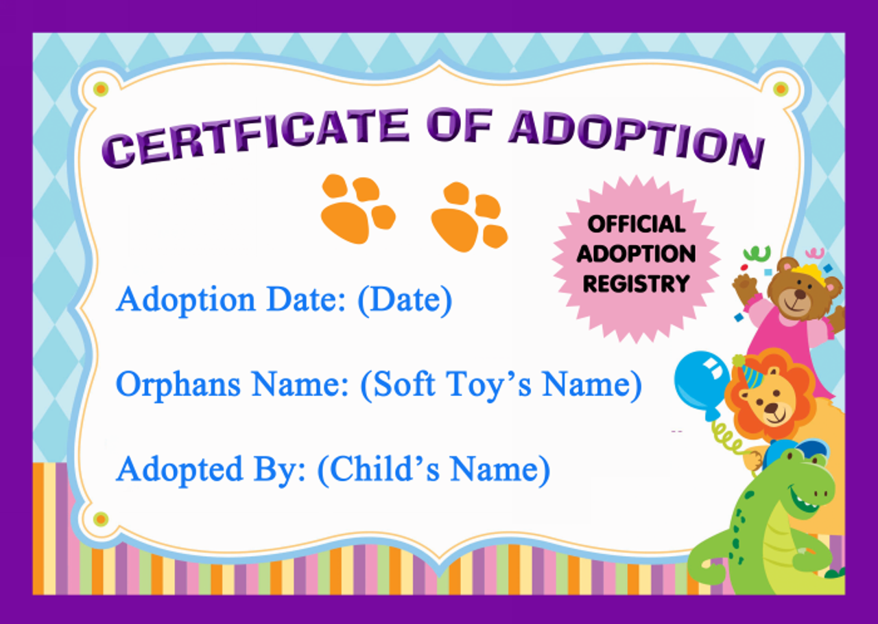 Soft Toy Teddy Bear Official Personalised Adoption