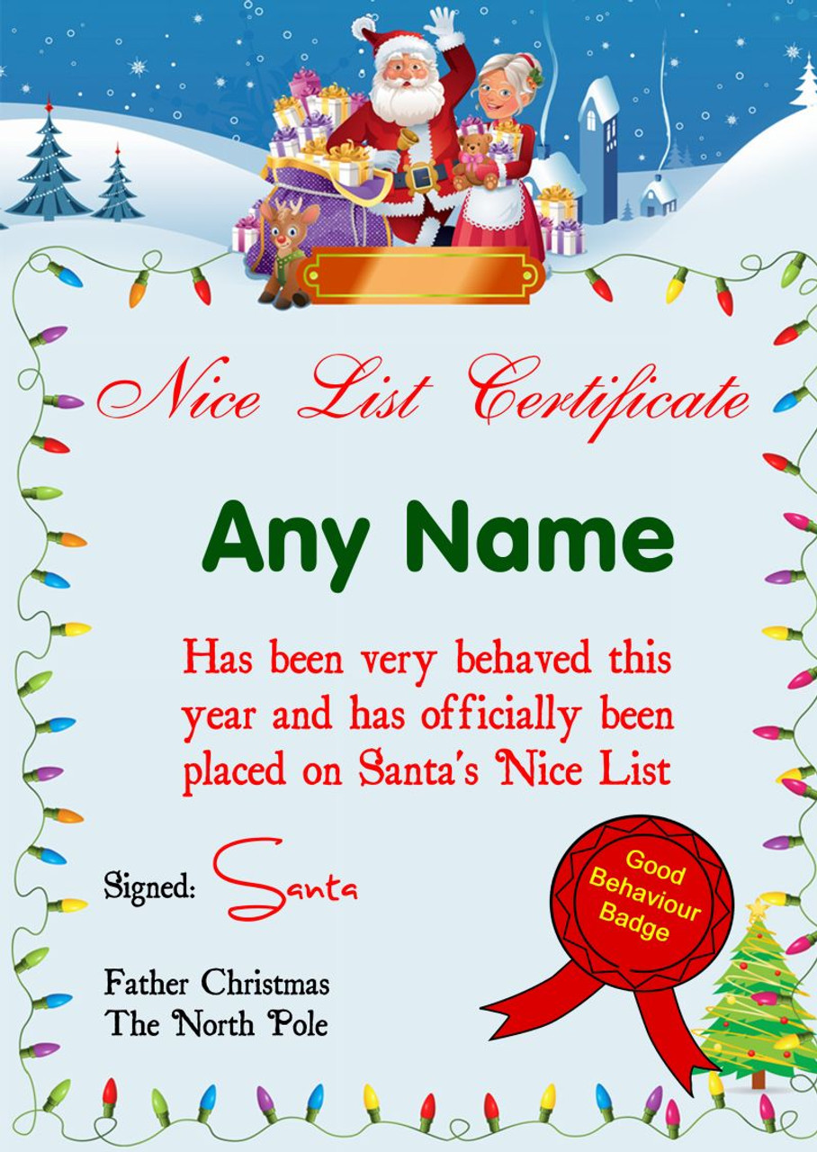 Lights personalised christmas santas nice list certificate the lights personalised christmas santas nice list certificate xflitez Gallery