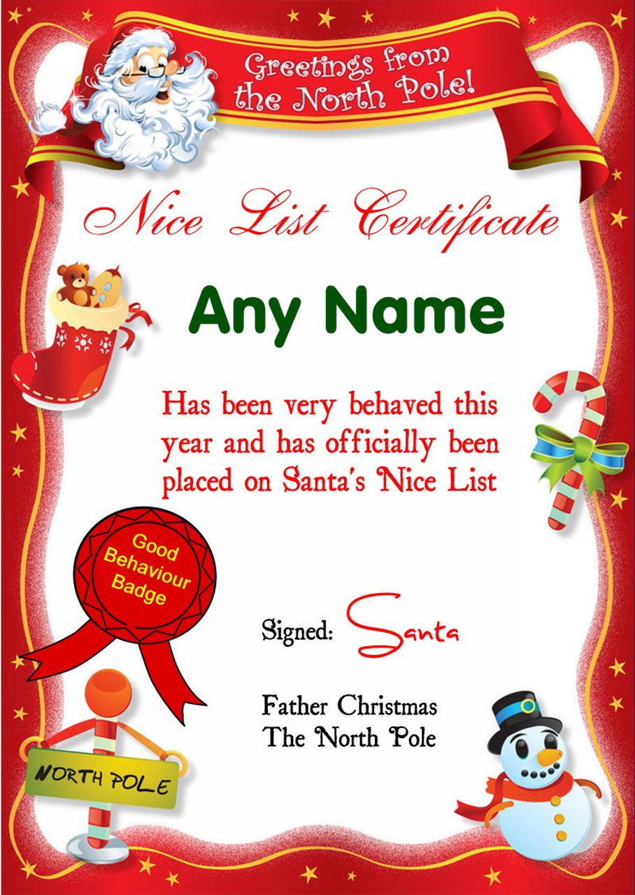 Red north pole personalised christmas santas nice list red north pole personalised christmas santas nice list certificate xflitez Gallery