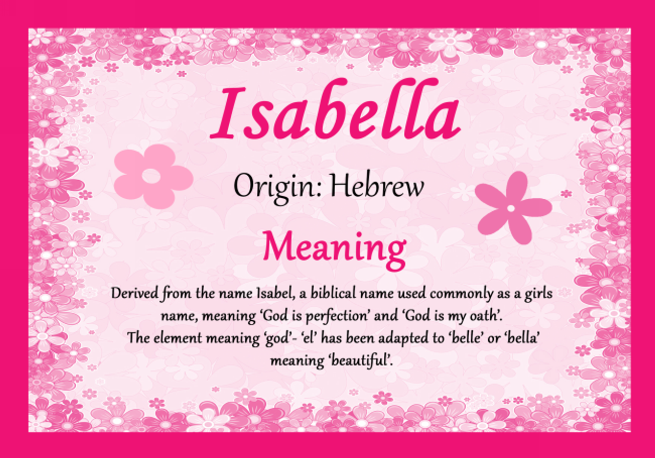 Isabella Personalised Name Meaning Certificate