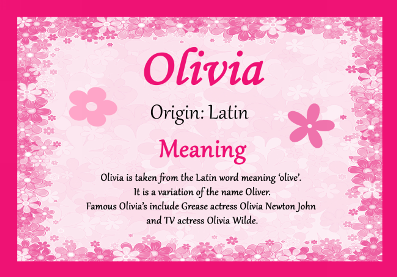 Olivia Personalised Name Meaning Certificate