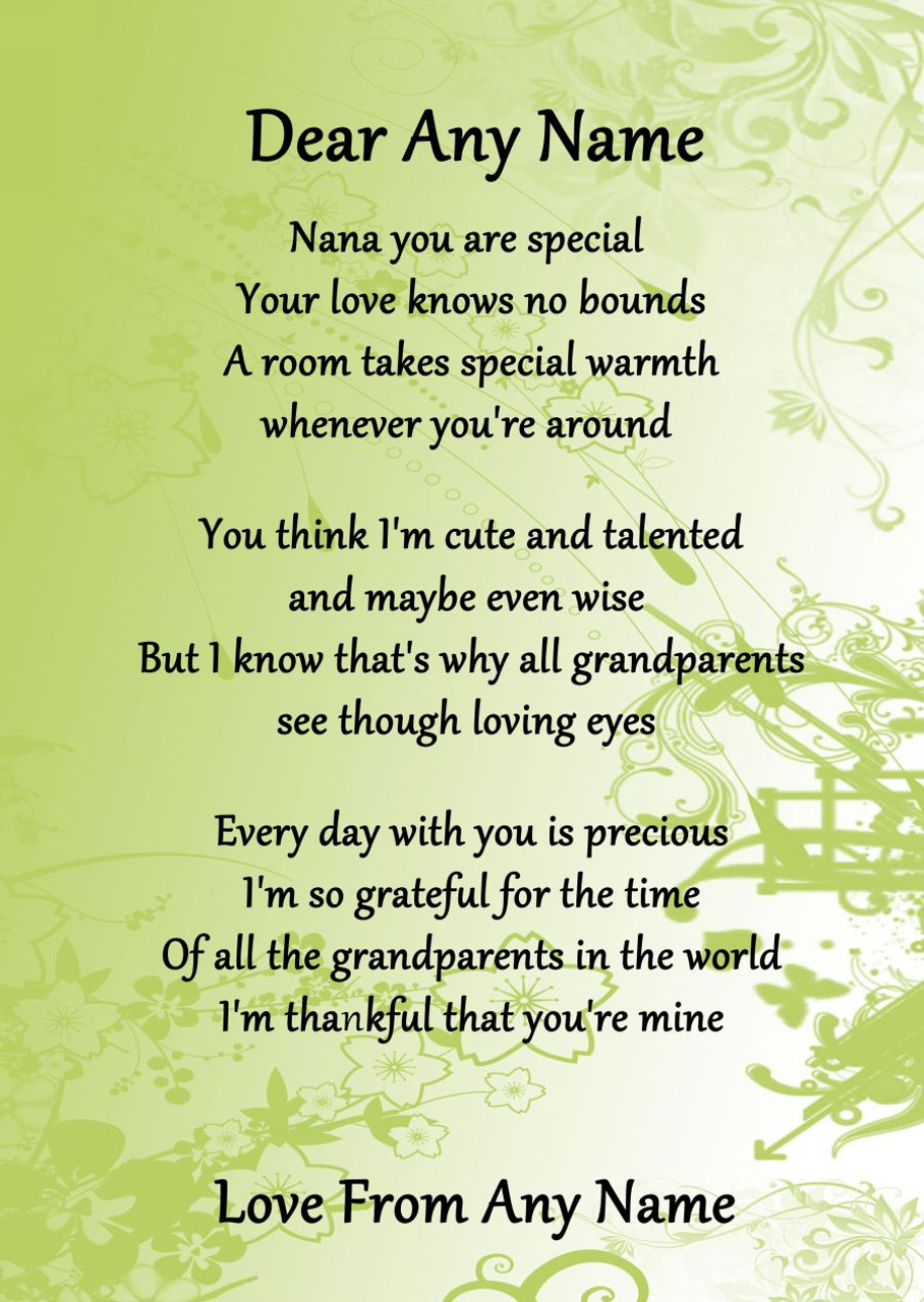 Green Nana You Are Special Personalised Poem Certificate