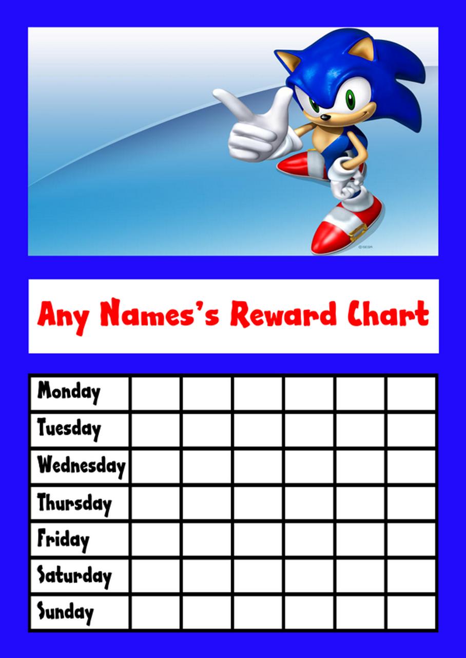 sonic the hedgehog star sticker reward chart