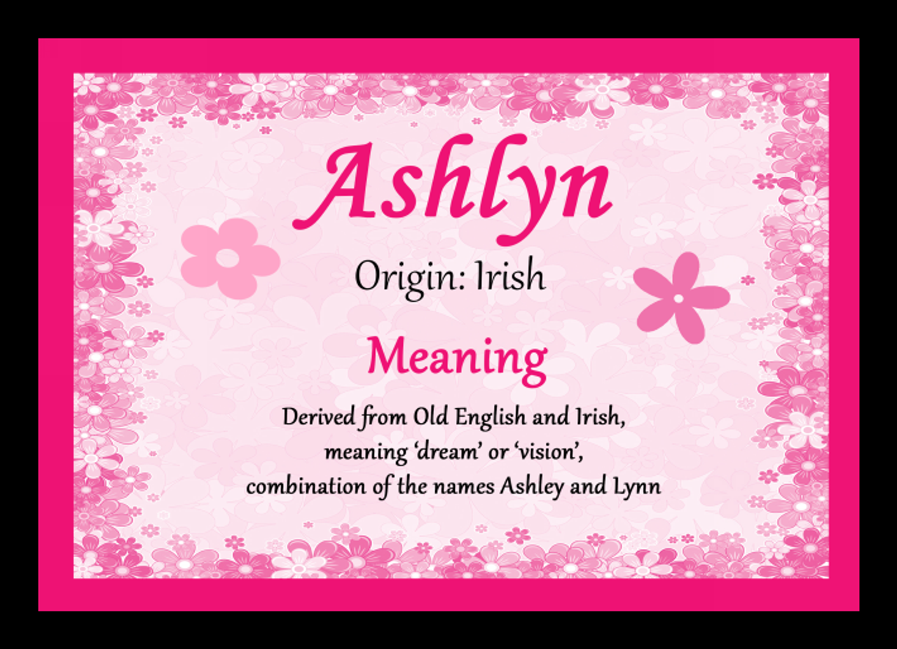 Ashlyn Personalised Name Meaning Placemat