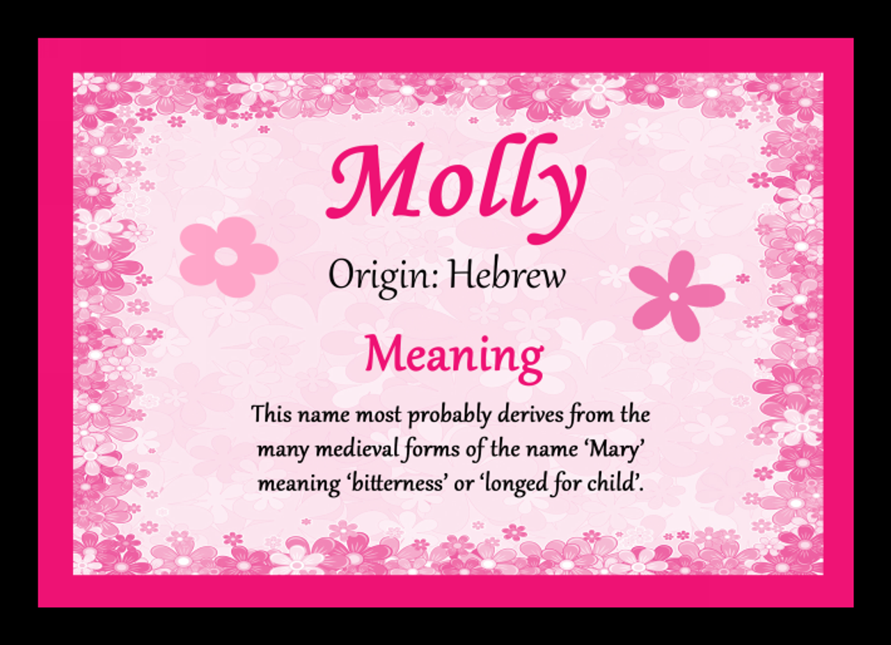 Molly Personalised Name Meaning Placemat The Card Zoo