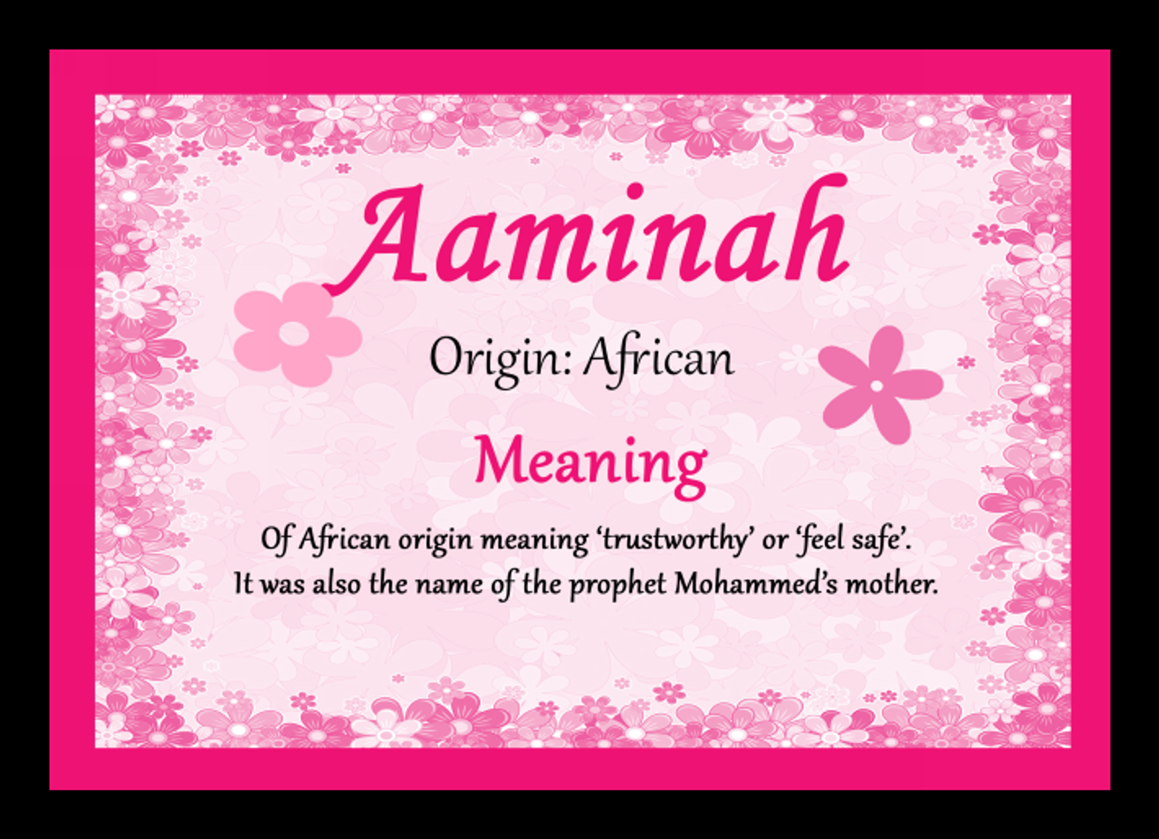 Aaminah Personalised Name Meaning Mousemat The Card Zoo