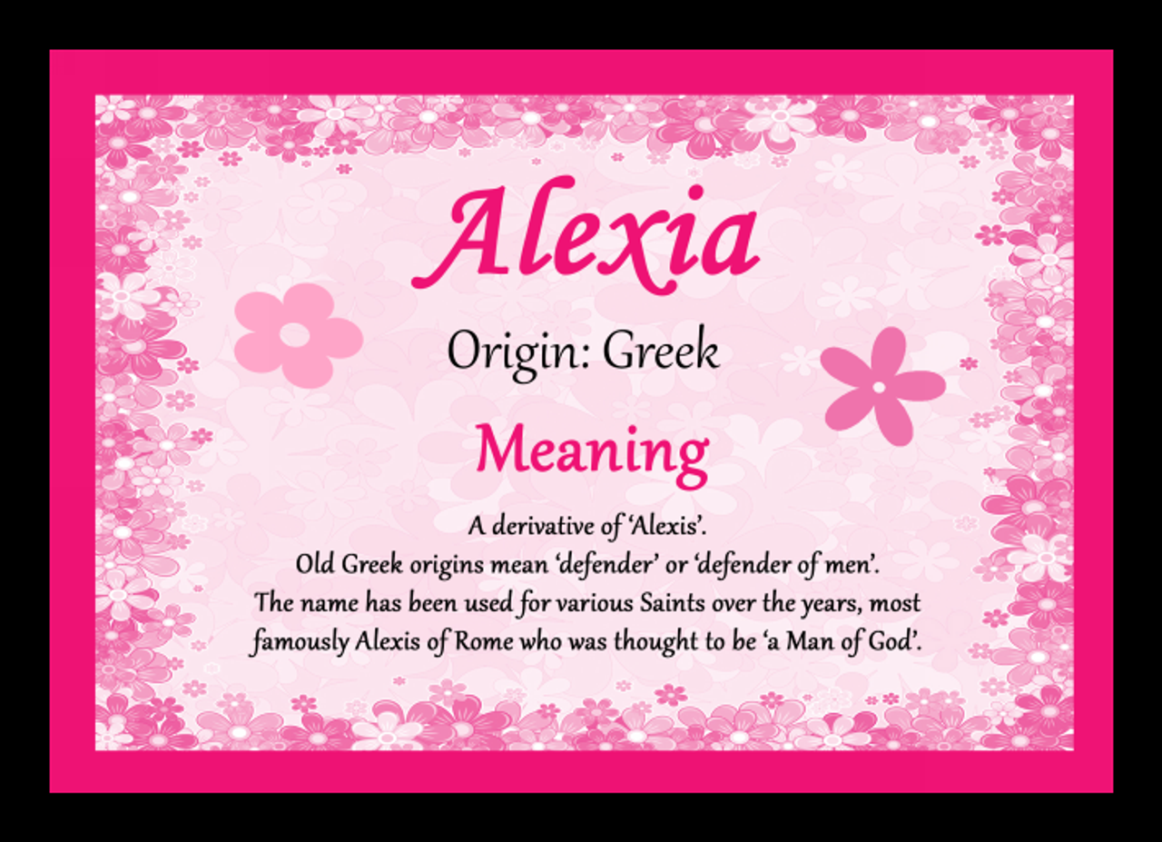 Alexia Personalised Name Meaning Mousemat The Card Zoo