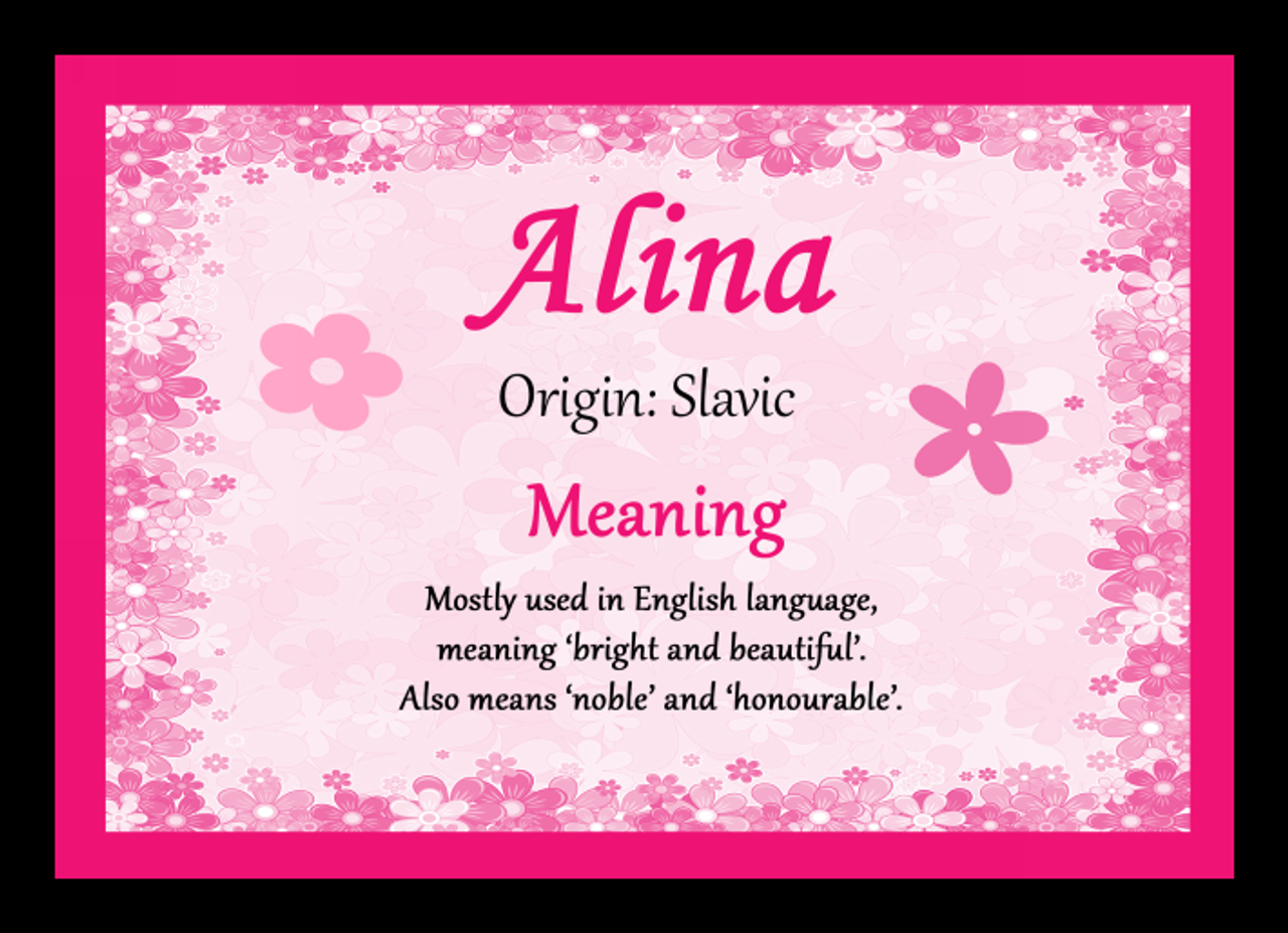 Alina Personalised Name Meaning Mousemat The Card Zoo