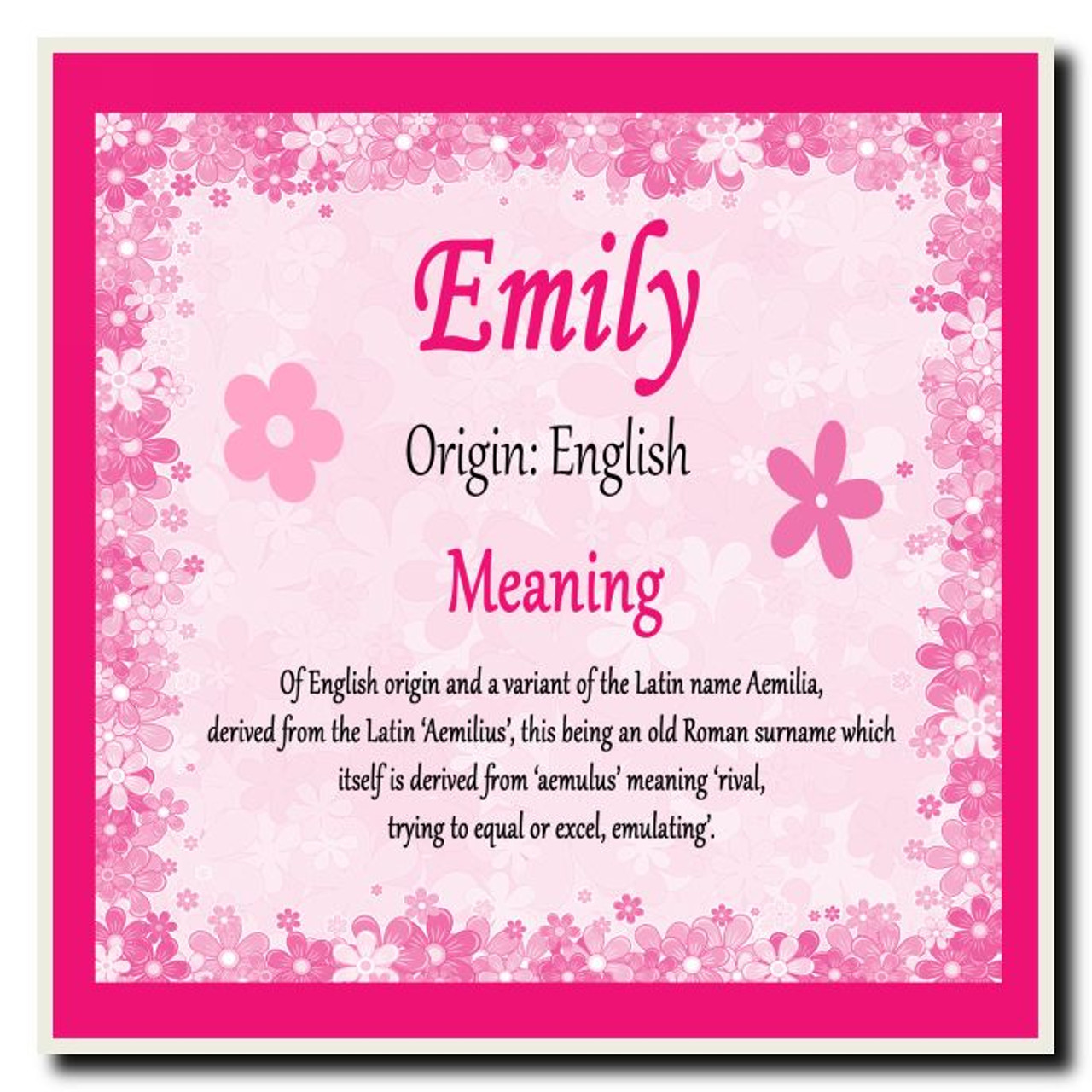 Emily Personalised Name Meaning Coaster The Card Zoo