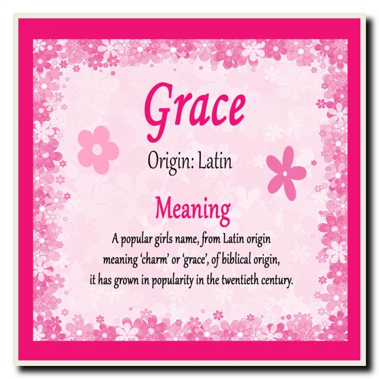 Grace Personalised Name Meaning Coaster