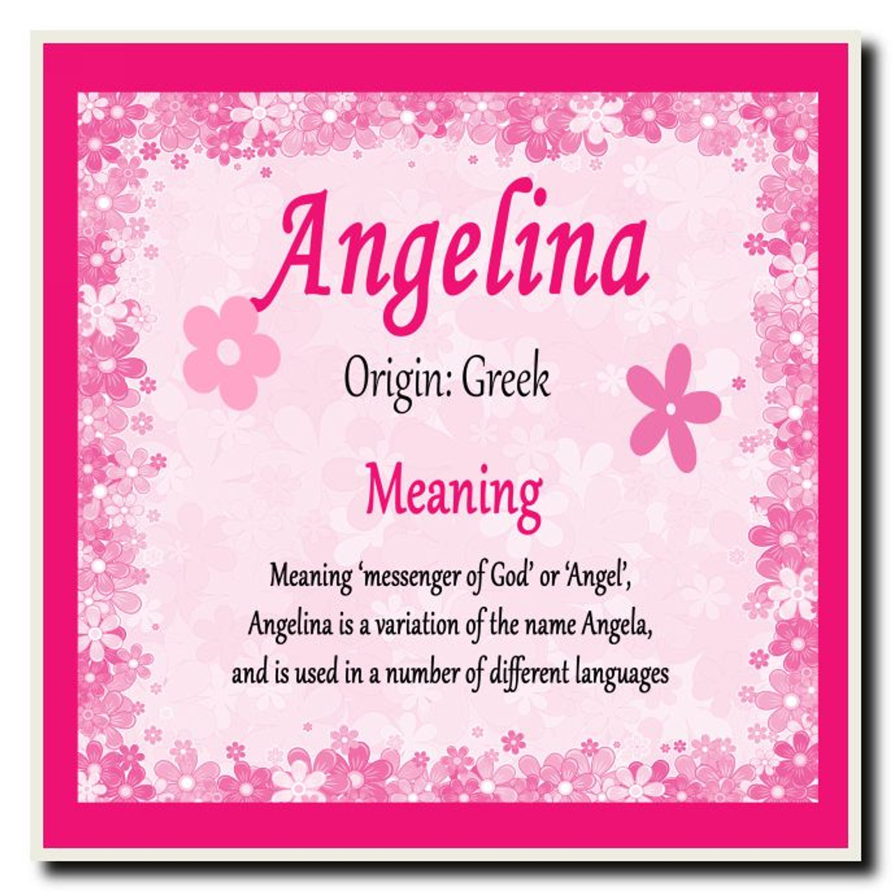 Angelina Personalised Name Meaning Coaster The Card Zoo