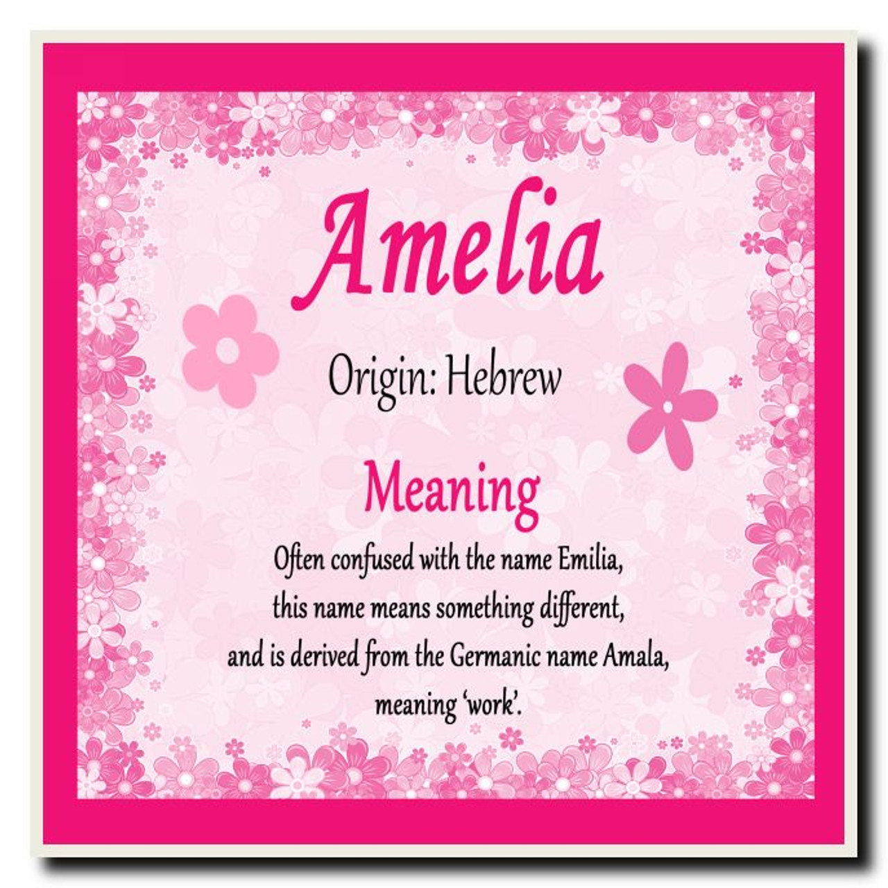 Amelia Personalised Name Meaning Coaster The Card Zoo