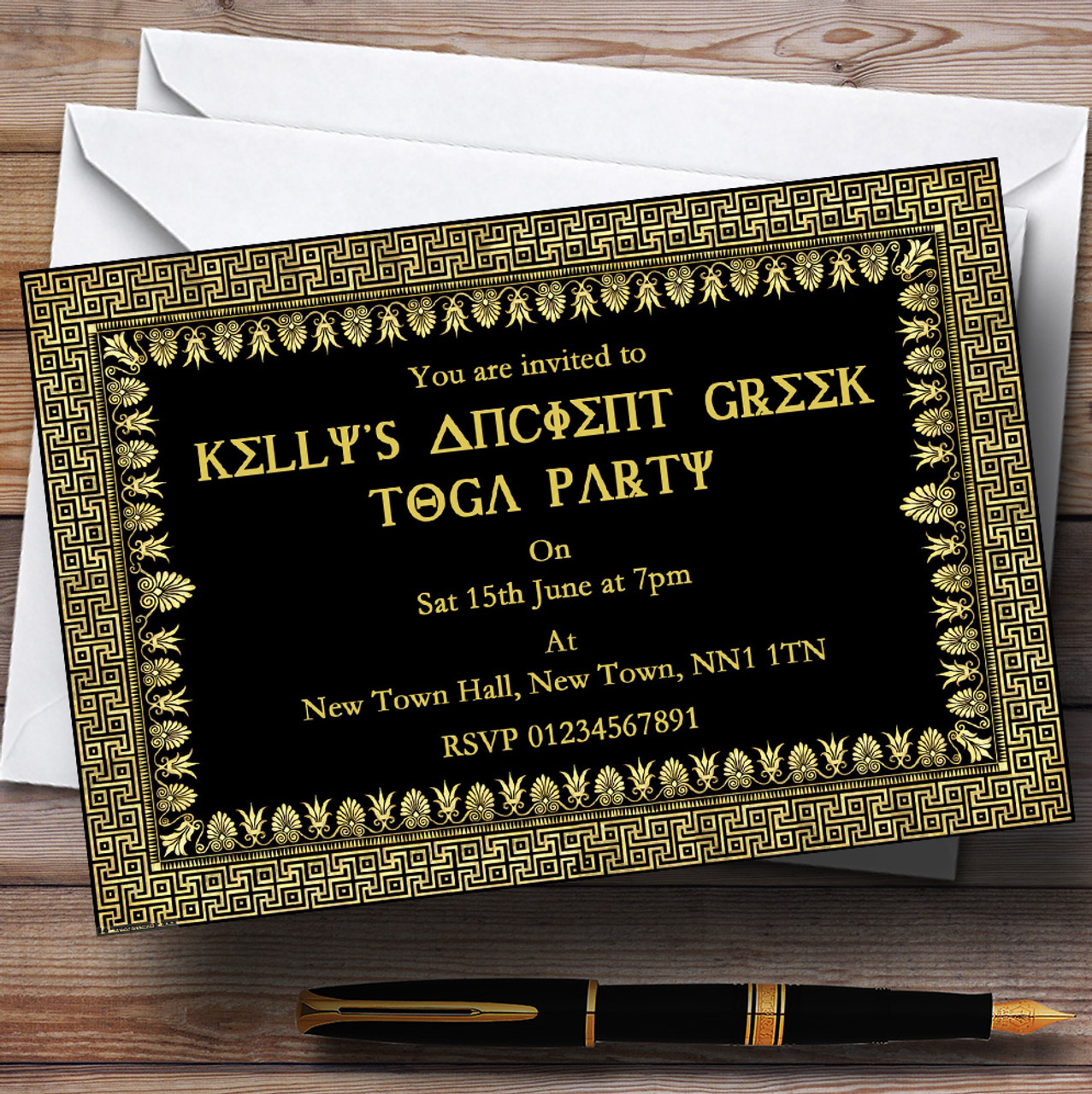 Ancient Greece Greek Toga Personalised Party Invitations The