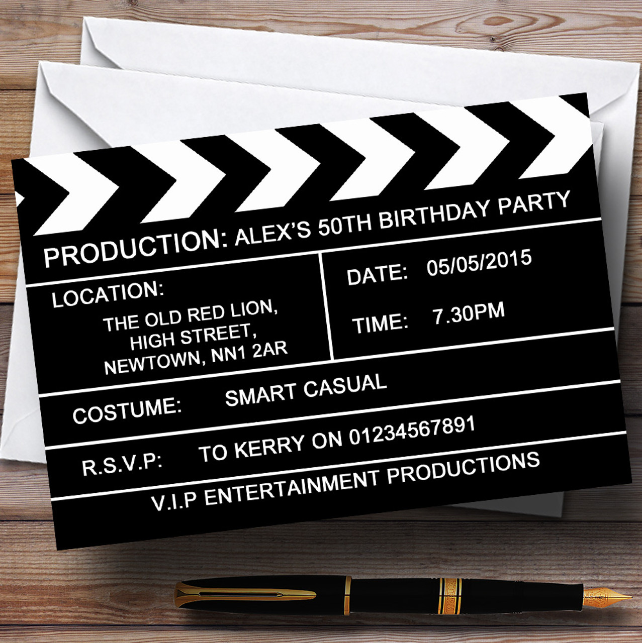 Hollywood Movie Clapboard Clapper Theme Personalised Birthday ...