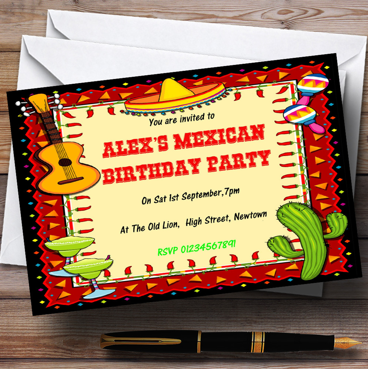 Mexican Fiesta Theme Personalised Birthday Party Invitations - The ...