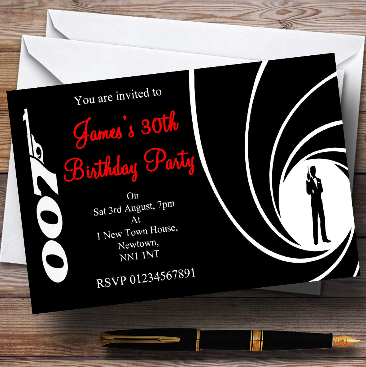 James Bond Personalised Party Invitations The Card Zoo – James Bond Birthday Cards