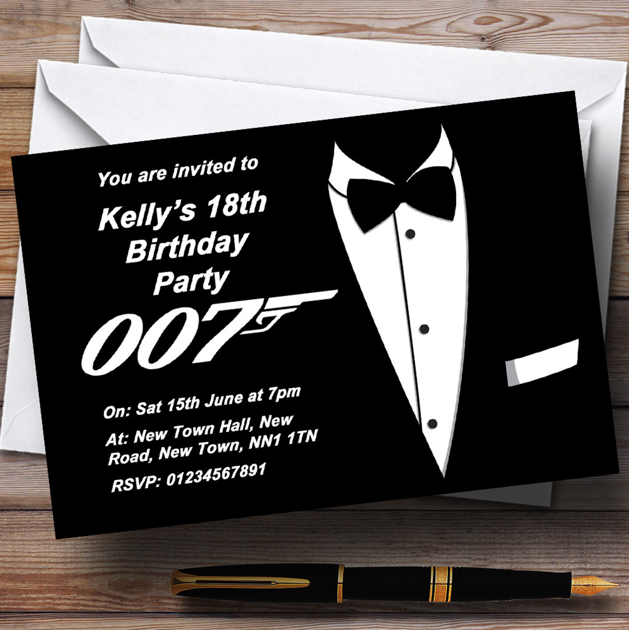 James Bond Themed Personalised Party Invitations The Card Zoo – James Bond Birthday Cards
