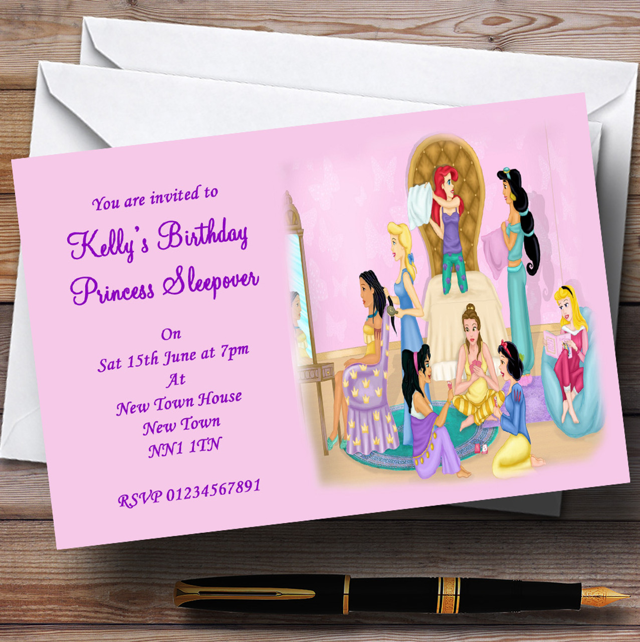 Princess Sleepover Slumber Makeover Personalised Party Invitations – Makeover Party Invitations