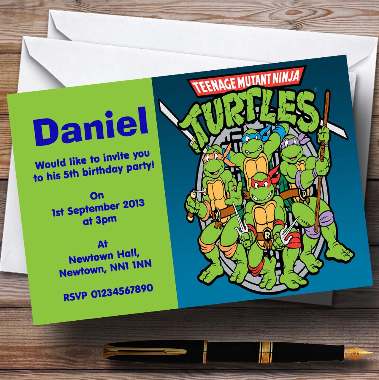 Teenage Mutant Ninja Turtles Personalised Childrens Birthday – Ninja Turtles Birthday Party Invitations