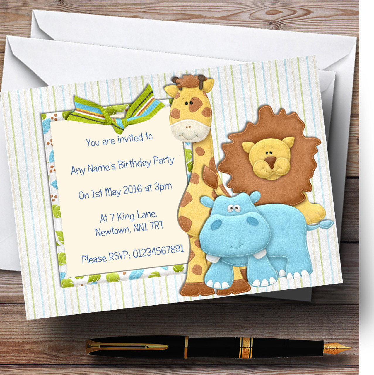 Cute Scrapbook Jungle Personalised Birthday Childrens Party
