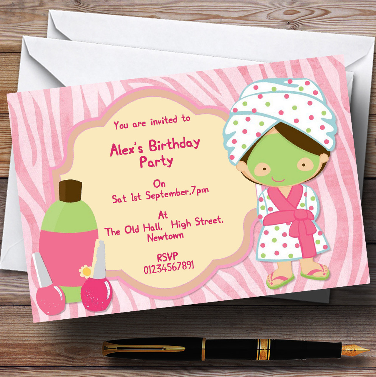 Girls Makeover Nail Spa Day Personalised Birthday Party – Makeover Party Invitations