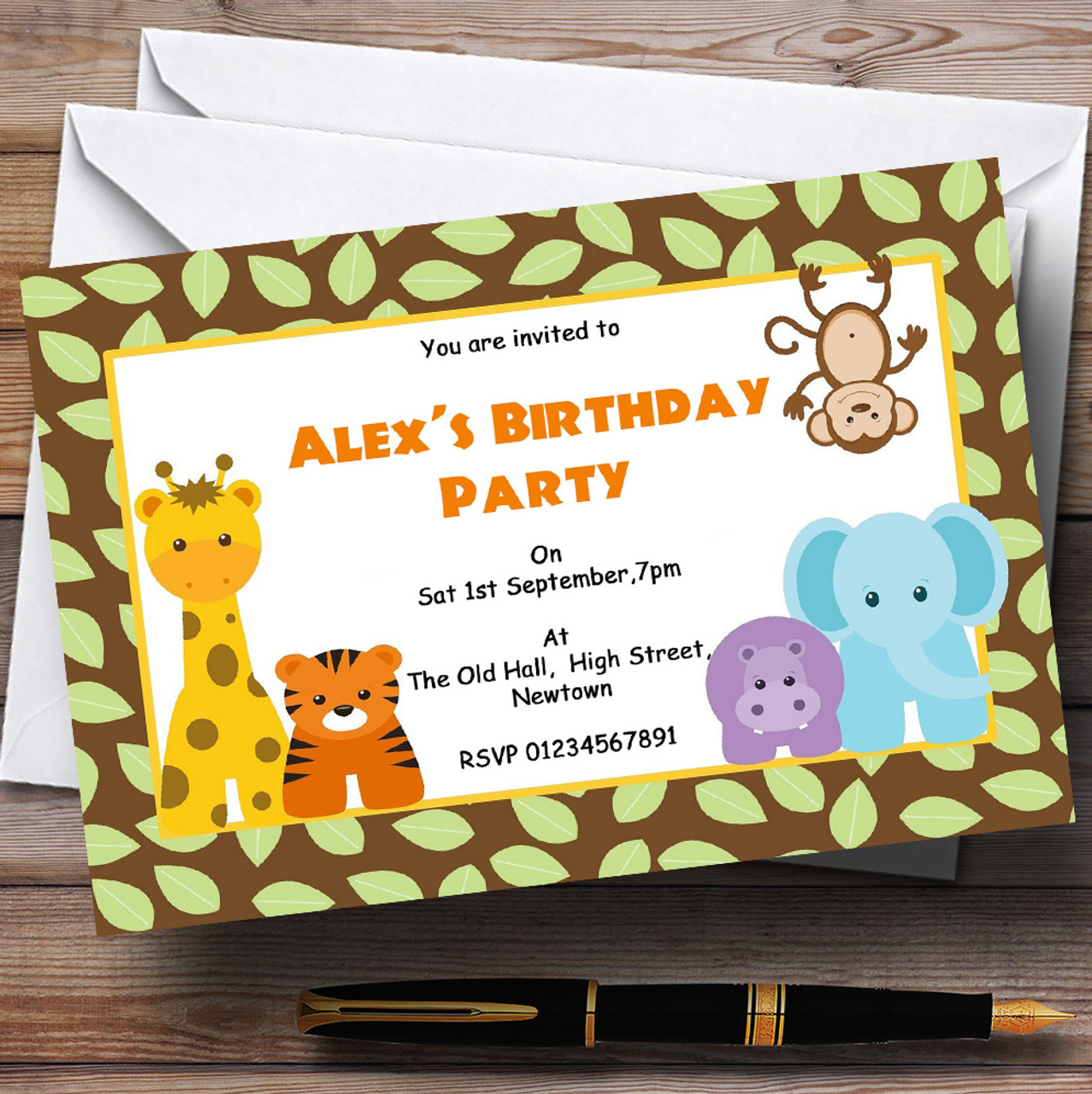 Cheeky Jungle Safari Animals Theme Personalised Birthday Party ...