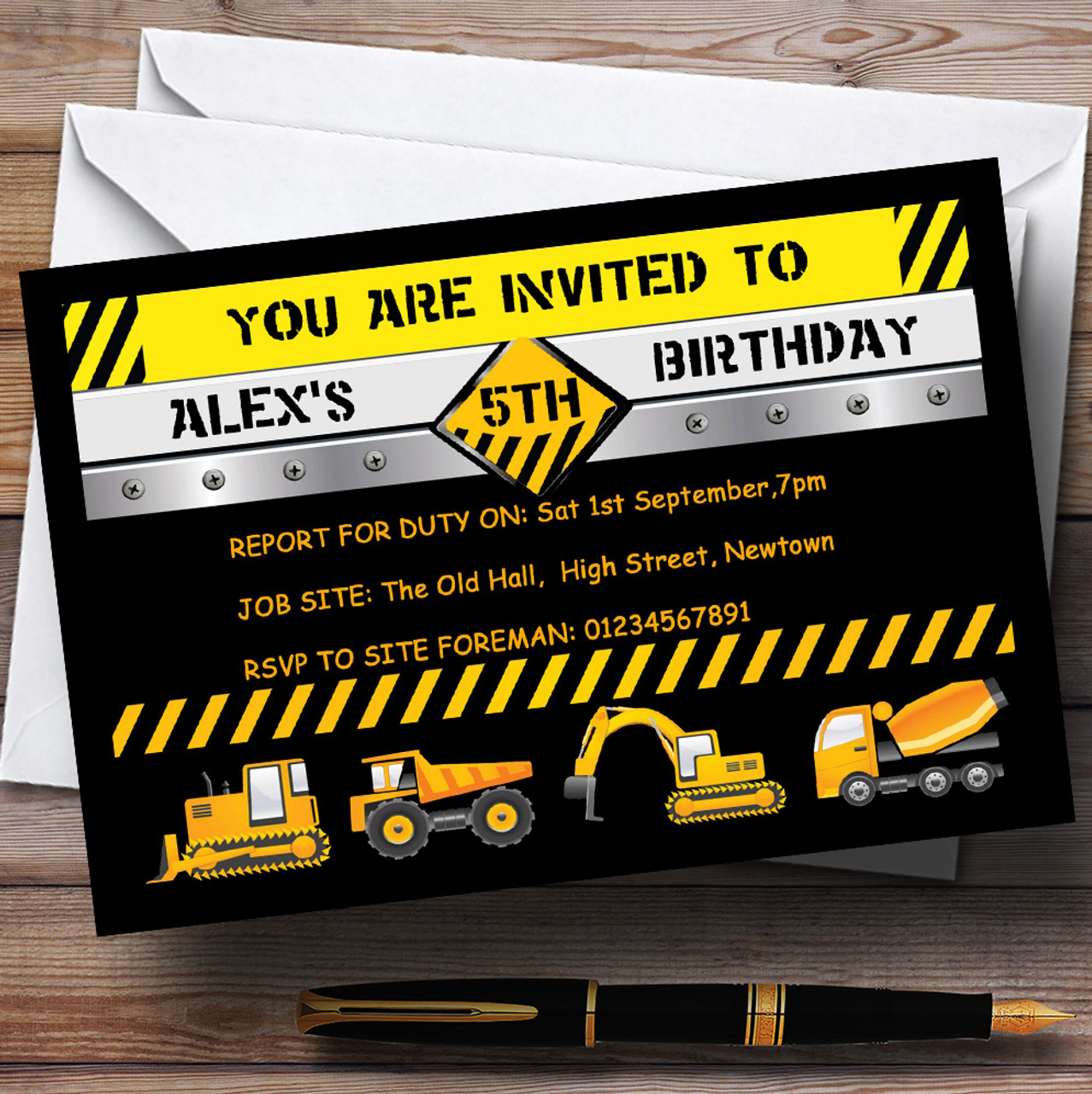 Digger Jcb Construction Builder Theme Personalised Birthday Party – Digger Party Invitations